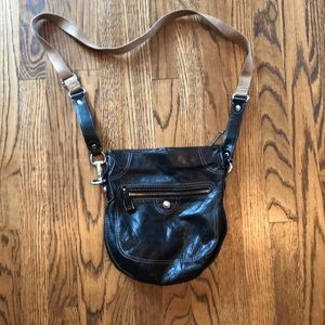 Leather cross body saddle bag